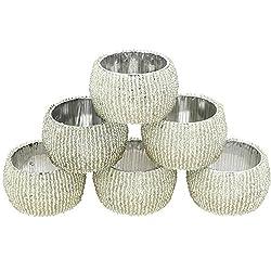 ShalinIndia Handgemachte Indische Silber Perlen Serviettenringe - Set von 6 Ringen