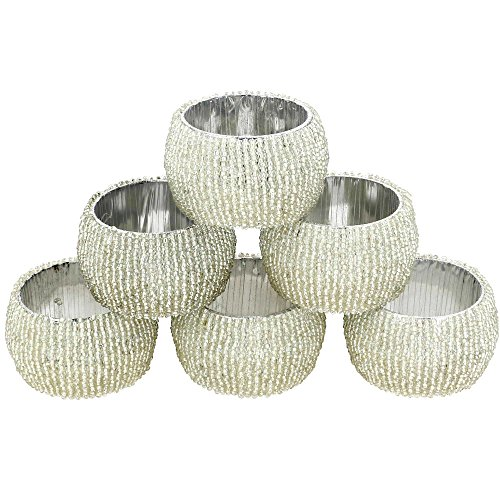 Moldeado de los anillos de servilleta Conjunto de 6 decoraciones de plata Adornos de Navidad