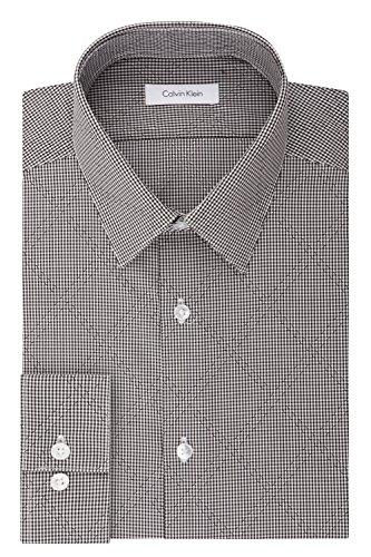 Calvin Klein Men's Non Iron Stretch Slim Fit Mini Check Dress Shirt, Charcoal, 17