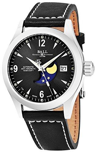 Ball Ingenieur II Ohio Untergang schwarz Face Datum Schweizer automatische schwarz Lederband Herren Armbanduhr (Pinterest Halloween College)