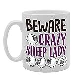 mg4219BEWARE Crazy Schaf Lady Neuheit Geschenk bedruckt Tee Kaffee CERMIC Tasse