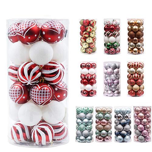 Valery madelyn palline di natale 30 pezzi 6cm infrangibile plastica palline di natale decorazioni natalizie con gancio decorazioni per albero di natale decorazione natalizia rosso bianco