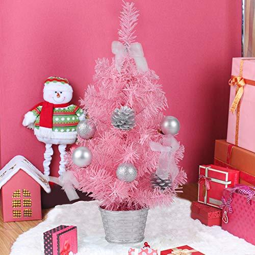 Fansport Mini Rosa Árbol Navidad 17.7in Árbol Navidad