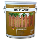 Wilckens Holzlasur -für Wetterfeste Außenanstriche Wetterbeständig Farbton Wählbar - 5 Liter, Farbe:Palisander