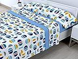 Cabetex Home - Juego de sábanas termicas de pirineo - 3 Piezas - 120 Gr/m2 - Mod. PICOLA (Azul,...
