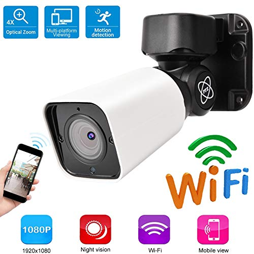 4 Fach optischer Zoom 1080P HD WiFi sicher Kamera, intelligente überwachungskamera mit 360° Scan, Kreuzfahrt, IR-Infrarot, wasserdicht für Außen/Innen