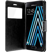 Housse, Etui folio à fenêtre fonction support pour Samsung Galaxy A3 2016 - Noir