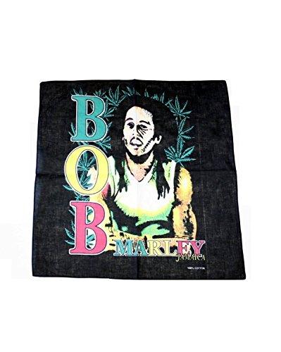 Zac's Alter Ego® - Bandana/Kopf- & Halstuch mit Bob-Marley-Motiv - 100% Baumwolle - mit Rasta-Farben -