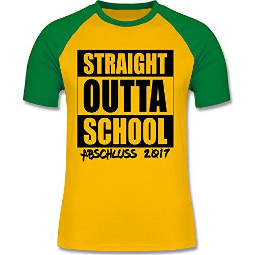 Abi & Abschluss - Abschluss 2017 Straight Outta School - zweifarbiges Baseballshirt für Männer Gelb/Grün