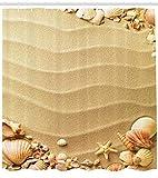 Abakuhaus Duschvorhang, Seestrand Tropische Hawaiische Schalen Seestern Exotische Romantische Ferien Sand Thematisiert, Wasser und Blickdicht aus Stoff mit 12 Ringen Schimmel Resistent, 175 X 200 cm