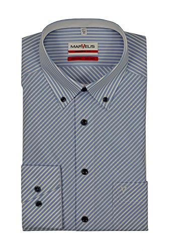 Marvelis - Modern Fit - Bügelfreies Herren Langarm Hemd mit Button Down Kragen in Blau gestreift (7247/54) Hellblau (11)