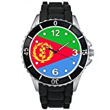 Eritrea bandiera del paese - Unisex - nero silicone della gelatina orologio da polso
