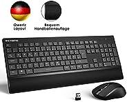VicTsing Tastatur Maus Set Kabellos USB, Funktastatur mit Maus, 2,4 GHz Wireless Tastatur QWERTZ Deutsches Layout mit Handba