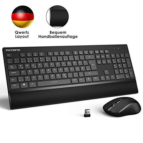 VicTsing Tastatur Maus Set Kabellos USB, Funktastatur mit Maus, 2,4 GHz Wireless Tastatur QWERTZ Deutsches Layout mit Handballenauflage, Lange Akkulaufzei für PC, Desktop, Notebook, Laptop (Schwarz)