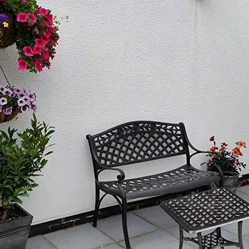 Lazy Susan – SANDRA Quadratischer Kaffeetisch mit 1 ROSE Gartenbank – Gartenmöbel Set aus Metall, Antik Bronze - 4