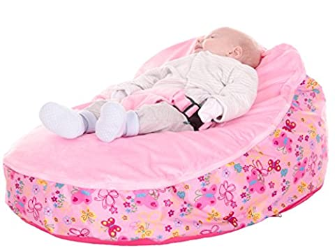 Baby Bean Bag - Rocker - Chair In Pink Flower Including Filling