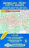 Marmolada, Pelmo, Civetta, Moiazza: Wanderkarte Tabacco 015. 1:25000 (Cartes Topograh)