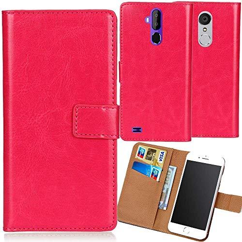 Dingshengk Rosa Premium PU Leder Tasche Schutz Hülle Handy Case Wallet Cover Etui Ledertasche Für Oukitel K10000 Max 5.5