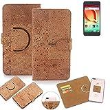 K-S-Trade Schutz Hülle für Alcatel A50 Handyhülle Kork Handy Tasche Korkhülle Handytasche Wallet Case Walletcase Schutzhülle Flip Cover Smartphone