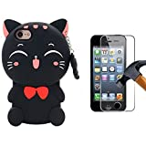 Black Cat Coque Pour iPhone 4/4s,Housses de téléphone,TPU Silicone Etui,Mignon 3D Cartoon Dessin Animé Animaux Licorne Souple Fille Enfants,Cute Kawaii Kids Girls Case Cover Pour iPhone4+Verre Trempé