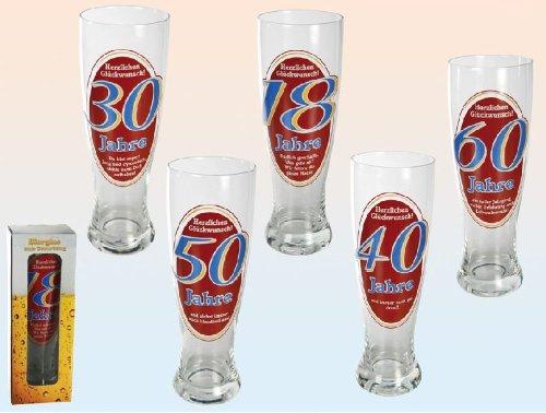 Out of the blue Verre à bière de blé/78 7869 Cœur Seguenze Glück Wunsch 50 ans pour 700 Ml-appx 23.5 cm
