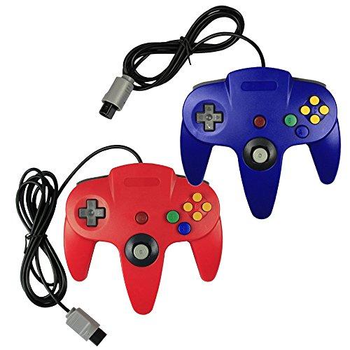 Pomilan Controller für Nintendo 64, Retro-Design, Blau und Rot, 2 Stück (Nintendo Super Controller 64)