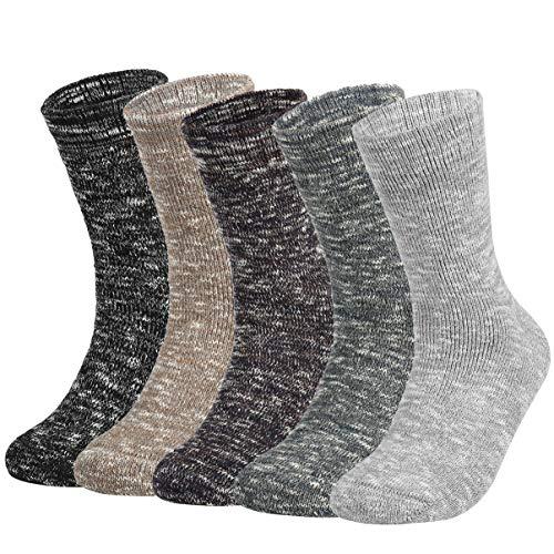 Vbiger 5 Paar Herren Crew Socken Baumwolle Socken Verdickt Thermische Warme Winter Terry Socken -
