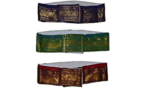 JISB Men's Iyer Belt in Zari and Canvas Fabric with 2 Zip Pockets, (1.25m) - Set of 3 (Multicolour)