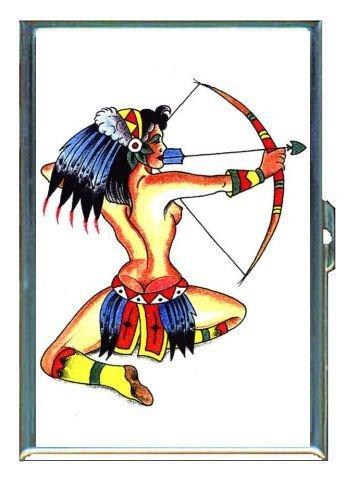 Preisvergleich Produktbild Sexy Native American Tattoo doppelseitig Zigarettenetui, ID Holder, Wallet Rfid mit Diebstahl Schutz