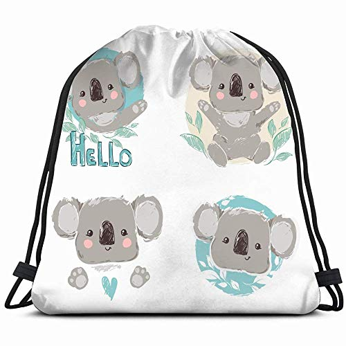 Beautiful Cute Childish Print Set Koala Animals Wildlife Adorable Miscellaneous Drawstring Backpack Gym Sack Lightweight Bag Water Resistant Gym Backpack For Women&Men For Sports,Travelling,Hiking,Cam (Cami Animal-print)