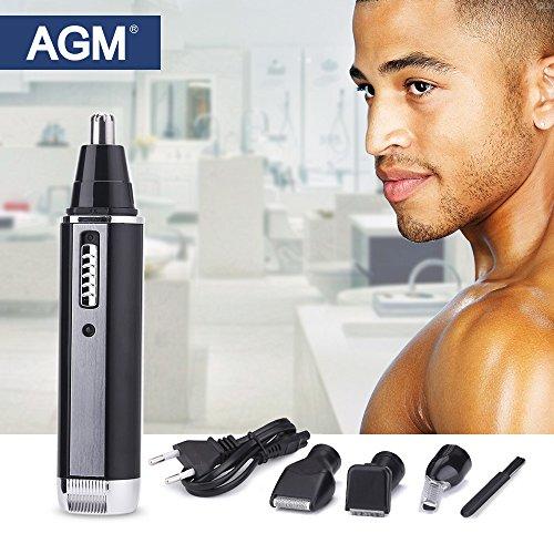 AGM Profesional 4 en 1 Recortador de vello nariz, cejas, bigotes y orejas recargable con hoja de acero inoxidable para hombres