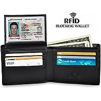 Vbiger Portafogli Nero Antifurto con Protezione RFID in Vera (Grande Portafoglio)