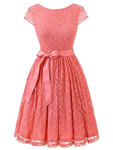 IVNIS RS90033 Damen Vintage Spitzen V Rücken Kurze Brautjungfern Party Kleid Abschlussballkleider Cap Ärmeln Coral XL (Pastellfarbene Abendkleider)