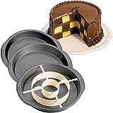 Wilton Backform-Set für Kuchen mit Schachbrettmuster-Füllung Dose Topf Set Antihaftbeschichtung Backform &Trennwand 3er Set