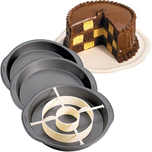 Wilton Backform-Set für Kuchen mit Schachbrettmuster-Füllung Dose Topf Set Antihaftbeschichtung Backform &Trennwand 3er Set (Wilton Topf)