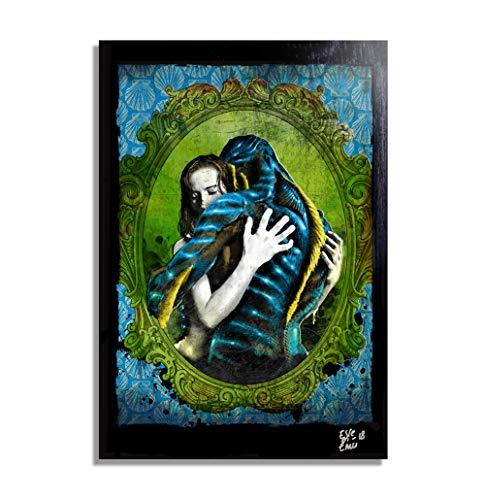 Das Flüstern des Wassers (The Shape of Water - Guillermo Del Toro) - Original Gerahmt Fine Art Malerei, Pop-Art, Poster, Leinwand, Artwork, Film Plakat, Leinwanddruck