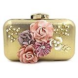 Onfahion Damen Mädchen Gold Blumen Abend Clutch Partei Frauen Golden Geldbeutel Handtaschen Taschen Geldbörse Brieftasche