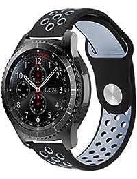 Gear S3 Bracelet, iBazal Gear S3 Frontier / Classic Watch Band 22mm Bracelet de Remplacement de Silicone Souple Sport Band pour Samsung Gear S3 Frontier / Classic [Série Sport] - Noir / Gris
