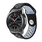 Gear S2 Classic Armband, 20mm Silikon Sport Uhrenarmband mit Belüftungslöchern für Samsung Gear S2 Classic Smartwatch, Gear Sport SM-R600, Withings Steel HR 40mm, Huawei Watch 2 Sport (Schwarz/Grau)