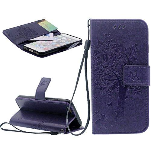 iPhone 6S Plus Portefeuille Bourse Rabat Coque Case de Protection Fille Style, Souple PU Cuir Carte Étui de Protection pour Apple iPhone 6 Plus 5.5 inch X 1 Cordon - Bleu viole