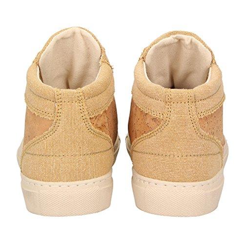 ZWEIGUT® -Hamburg- echt #404 Herren High-Top Kork Schuhe Freizeit Sneaker vegan und nachhaltig, Schuhgröße:47, Farbe:sand-kork - 4