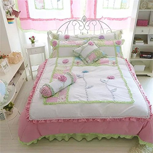 memorecool Haustierhaus Rosa Prinzessin Stil. 3D Flower Bettwäsche-Set Sweet Design Girly Bettwäsche 100% Baumwolle Bett Rock Mädchen Bettwäsche-Set Twin Größe, baumwolle, 6Pcs, - Teen Bettwäsche Mädchen Rosa