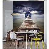 Wiwhy Mural Grande En 3D Personalizado, Hermosas Nubes Oscuras De Fantasía Del Camino De Madera Que Conduce A La Casa Azul, Papel Tapiz Del Dormitorio Del Televisor De La Sala De Estar-280X200Cm
