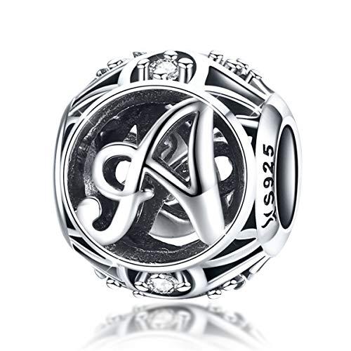 A Buchstabe Anhänger Charm Sterling Silber 925 Zirkonia für Armbänder und Halsketten