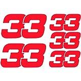 Max Verstappen 33 F1 Formula 1 - Pegatinas de vinilo (2 x 80 mm, 3 x 50 mm), color rojo fluorescente