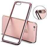 iPhone 7 Funda, Mture Apple iPhone 7 Transparente Funda Carcasa Case Bumper Delgado Enchapado TPU Funda Cover anti golpes Anti-Arañazos Para iPhone 7 (Oro Rosa)