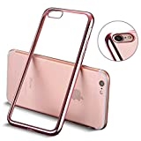 iPhone 8 hülle, iPhone 7 hülle, Mture Tasten Schutzhülle iPhone 8 / 7 Transparent Case Cover Bumper Anti-Scratch Plating TPU Silikon Durchsichtig Handyhülle für iPhone 8 / iPhone 7 (Rose Gold)