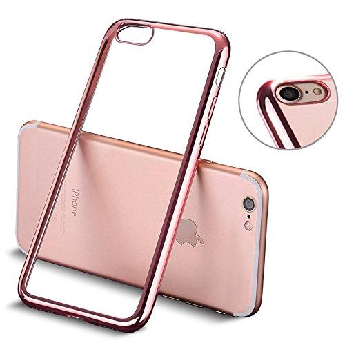 iPhone 8 hülle, iPhone 7 hülle, Mture Tasten Schutzhülle iPhone 8 / 7 Transparent Case Cover Bumper Anti-Scratch Plating TPU Silikon Durchsichtig Handyhülle für iPhone 8 / iPhone 7 (Rose Gold)