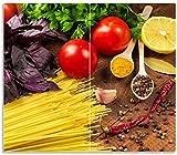 Wallario Herdabdeckplatte/Spritzschutz aus Glas, 2-teilig, 60x52cm, für Ceran- und Induktionsherde, Italienisches Menü mit Spaghetti, Tomaten, Basilikum und Gewürzen