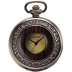 AMPM24 Steampunk Mechanical Half Hunter Vintage Retro Copper Pendant Pocket Watch Gift + AMPM24 Gift Box WPK143